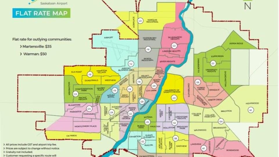 Une carte de la ville de Saskatoon sur laquelle sont indiqués les différentes zones de tarification et les prix des courses vers ou de l'aéroport.