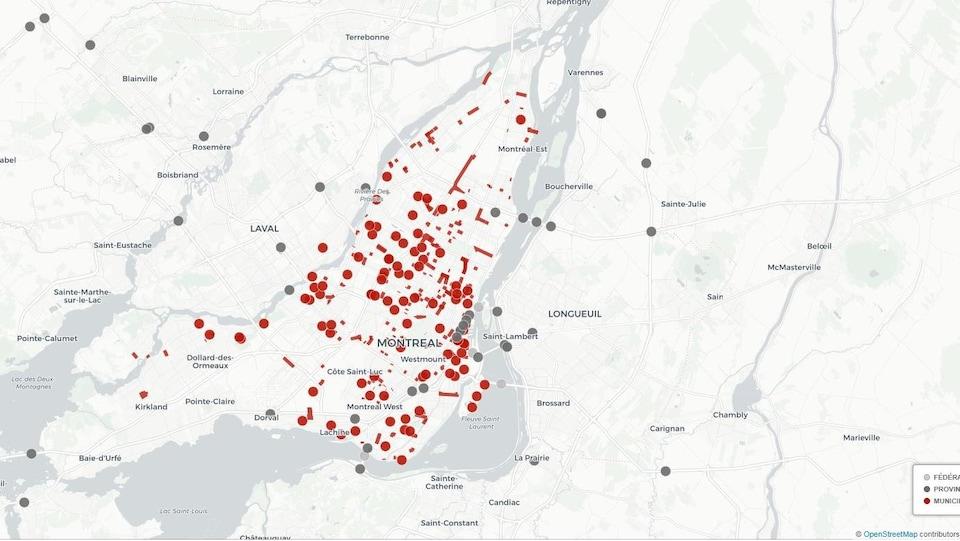 La carte des chantiers prévus à Montréal à l'été 2015