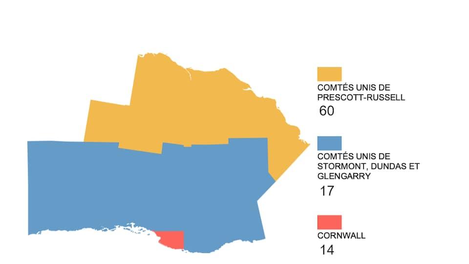 Une carte montre qu'il y a 60 cas dans les Comtés unis de Prescott et Russell, 17 dans ceux de Stormont, Dundas et Glengarry et 14 à Cornwall.