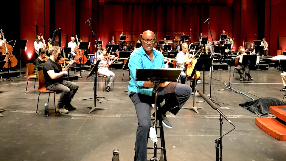 Widemir Normil et l'Orchestre symphonique de Québec en répétition.