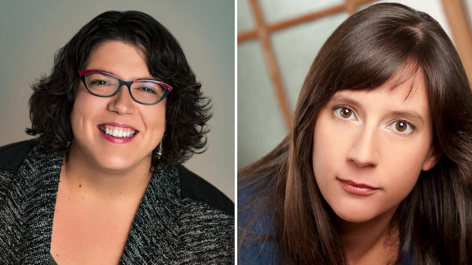 Montage de photos : deux femmes aux cheveux foncés.