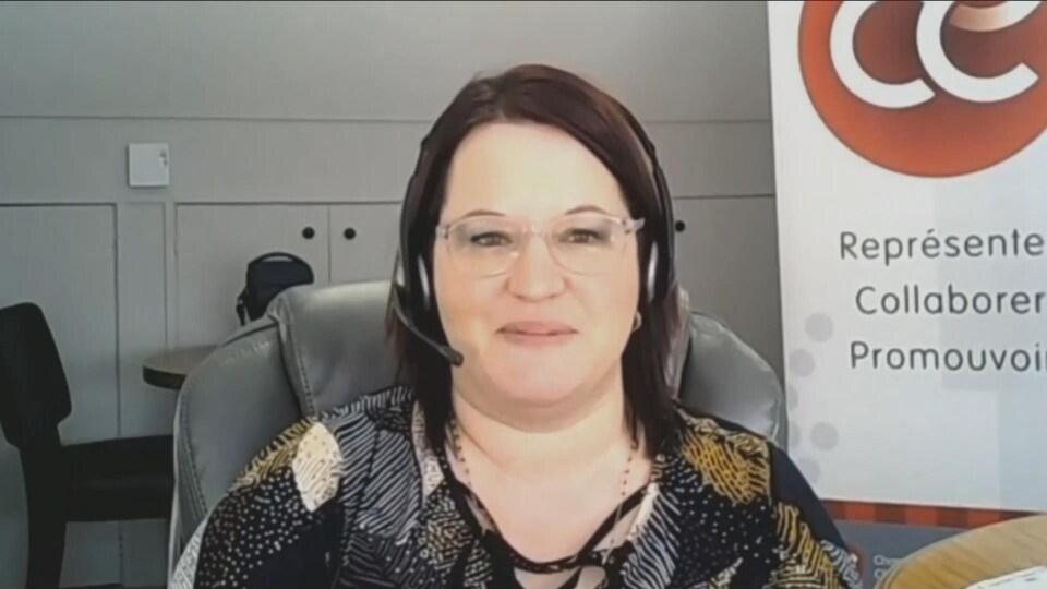 Cathy Pelletier, directrice générale de la Chambre de commerce de la région d'Edmundston, le 18 février 2021 par vidéoconférence.