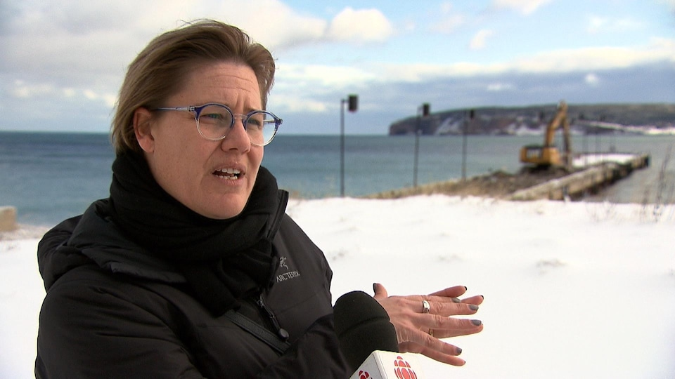 Cathy Poirier lors d'une entrevue avec Radio-Canada devant le quai de Percé, où s'affaire une grue.
