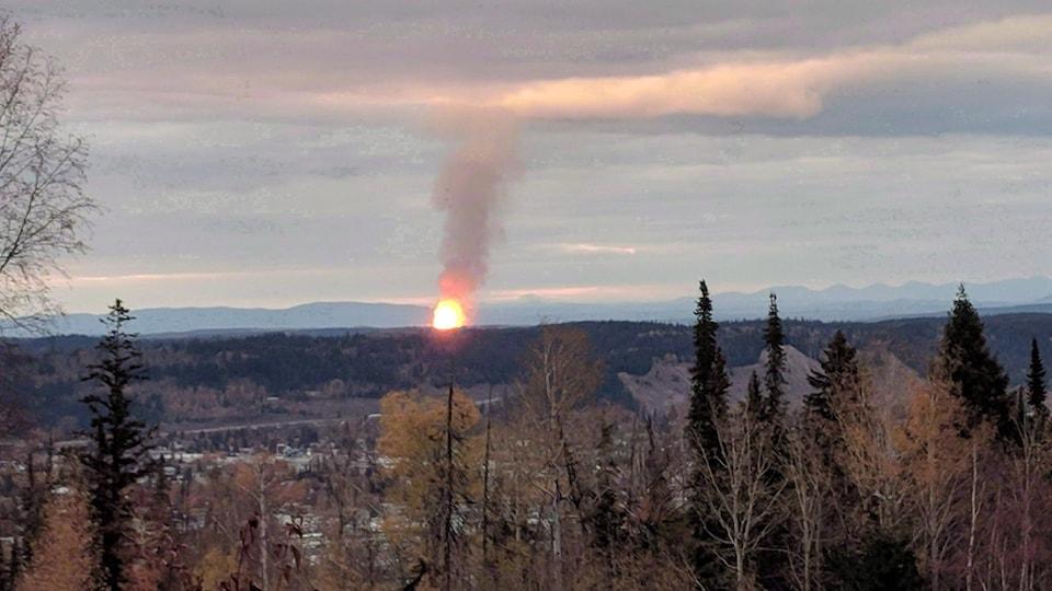 Une boule de feu au centre d'une forêt, devant des montagnes.