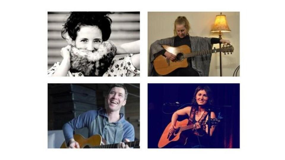 3 femmes et un homme, la guitare à la main