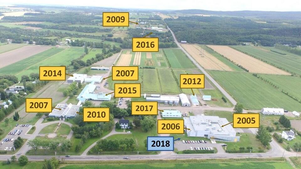 photo aérienne des installations avec les années où les bâtiments ont été construits