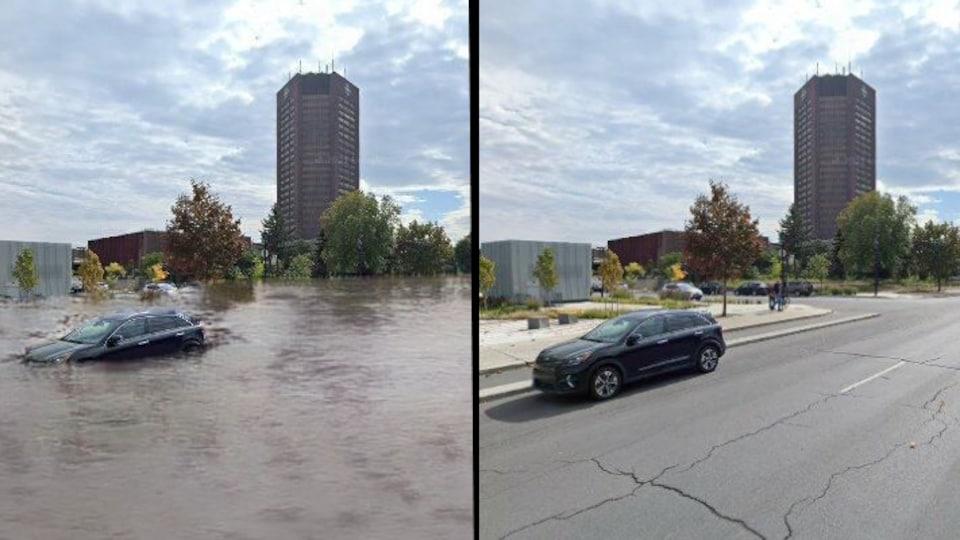 La tour de Radio-Canada, si elle était ravagée par une inondation.