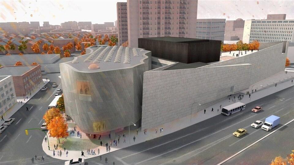 Plan du centre d'art inuit au Musée des beaux-arts de Winnipeg proposé par l'architecte Michael Maltzan.