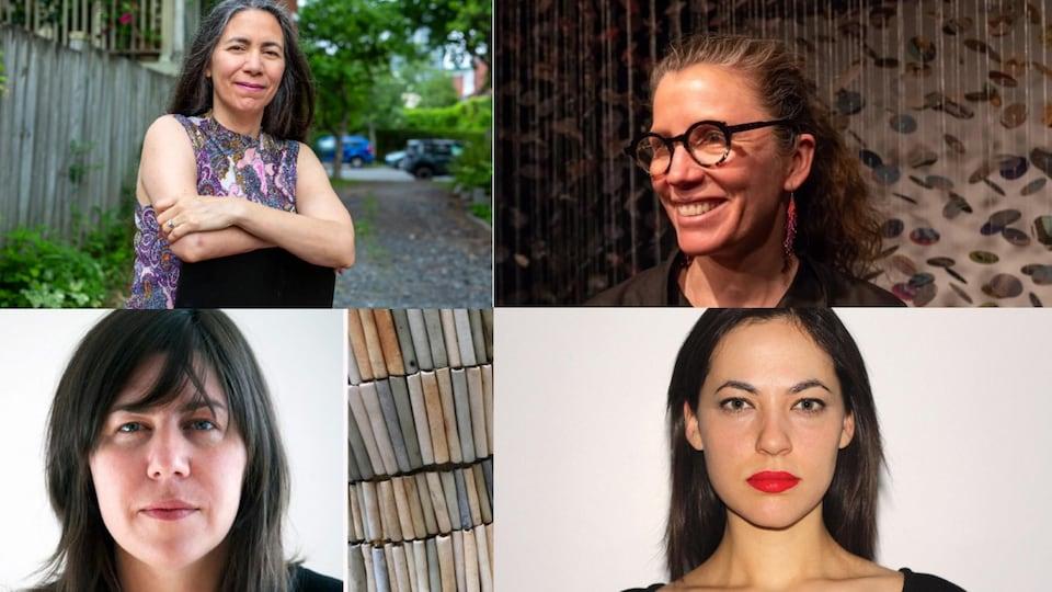 Portraits de Skawennati, Hannah Claus, Nadia Myre et Caroline Monnet.