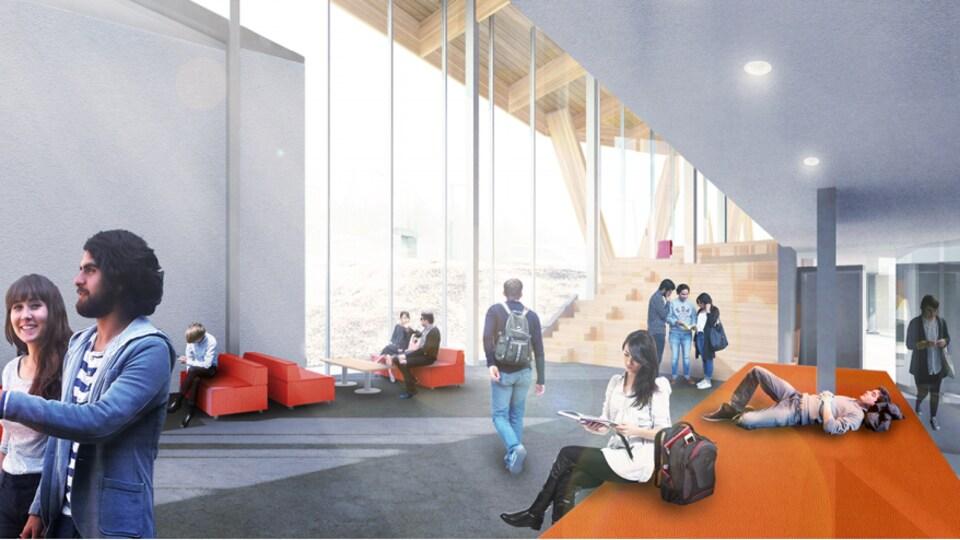 Croquis du nouveau centre étudiant prévu à l'Université Laurentienne.