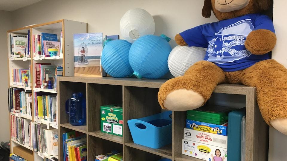 Une salle de jouets avec des livres, des toutous et des jeux.