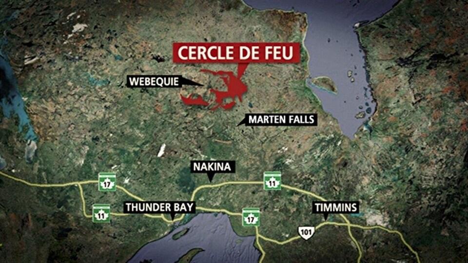 Carte montrant la position de villes en relation avec la région du Cercle de feu.