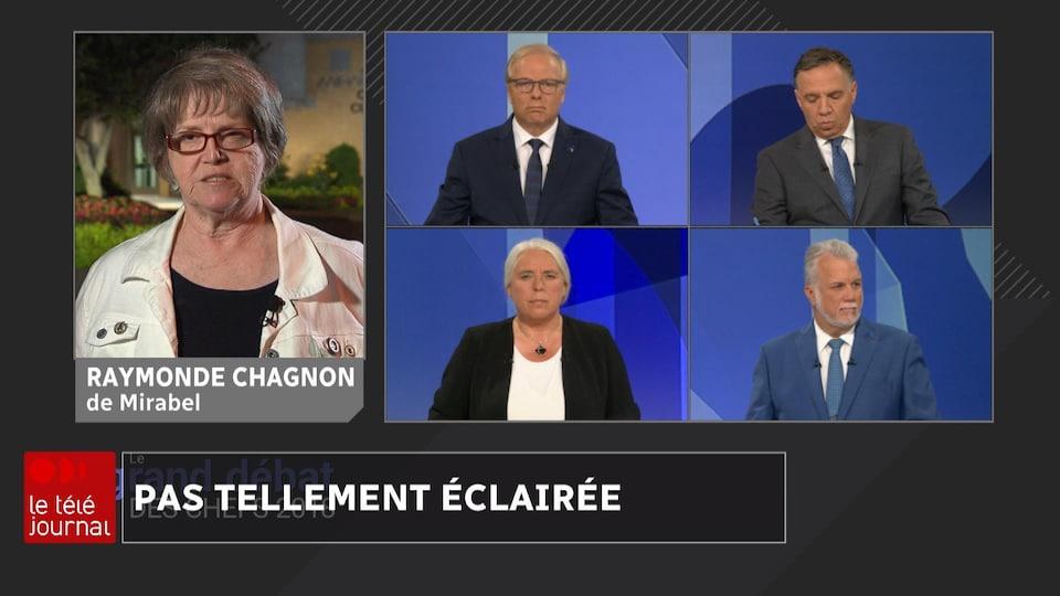 L'écran montre Raymonde Chagnon, à Mirabel, (à gauche) et les quatre chefs, en studio