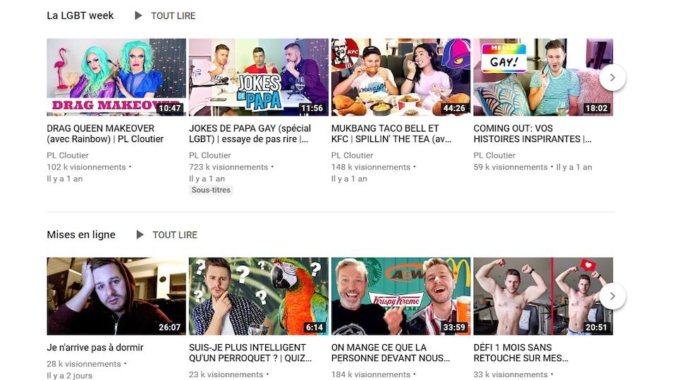 Des vidéos sur la chaîne YouTube de PL Cloutier.