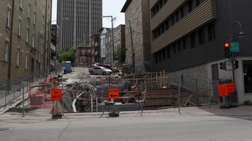 Un chantier sur la rue Turnbull à Québec