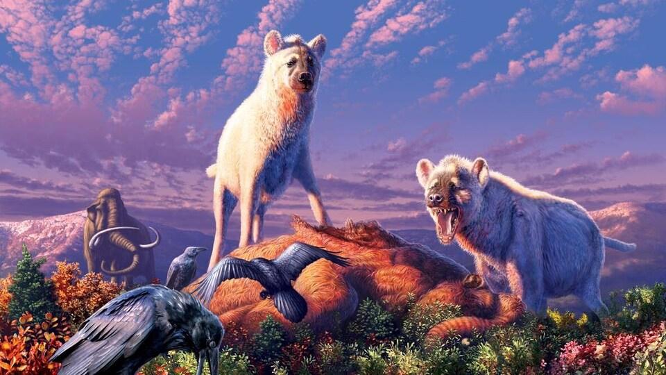 Deux hyènes sont debout et des oiseaux sont autour d'elles.