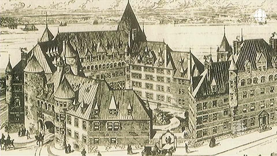 Dessin en noir et blanc du Château Frontenac alors encore en construction.