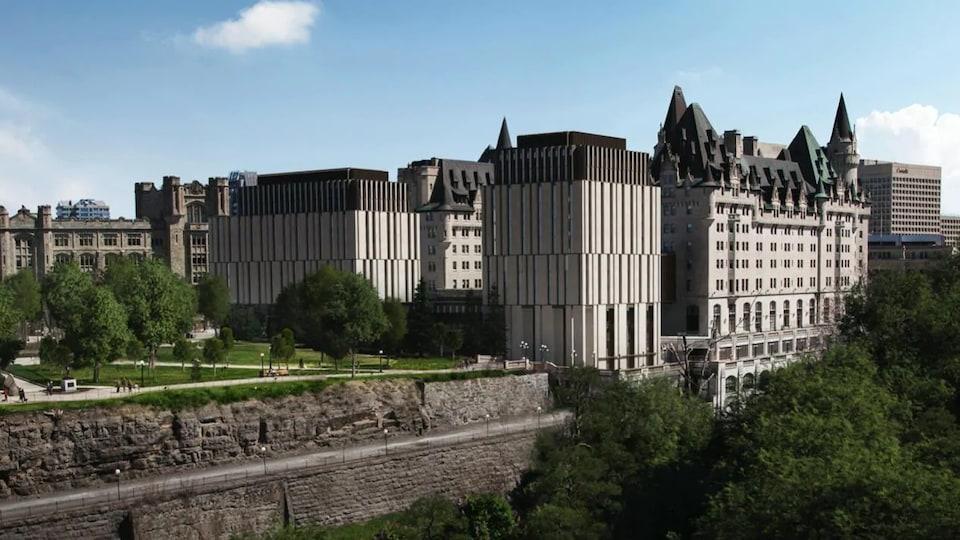 Croquis architecturaux du Château Laurier avec sa nouvelle addition.