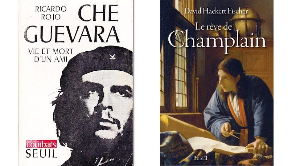 Sur la couverture du livre à gauche, une photo du Che. Sur la couverture de droite, un homme regarde par la fenêtre.