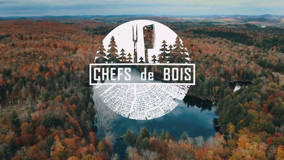 Une forêt boréale vue de haut avec le logo de Chefs de bois.