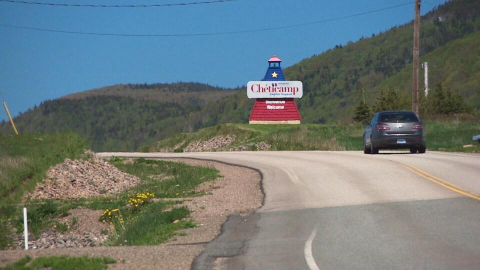 L'affiche de bienvenue de Chéticamp.