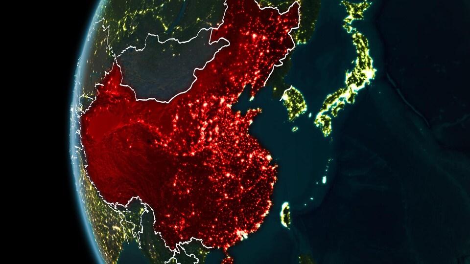 Illustration du territoire chinois de l'espace.