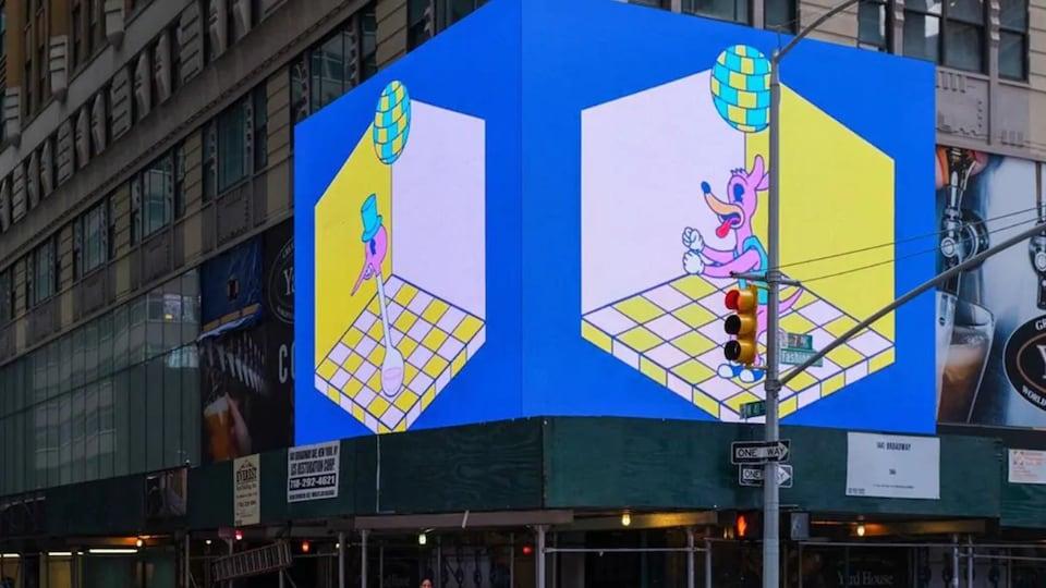 Un panneau d'affichage lumineux de Times Square, à New York.
