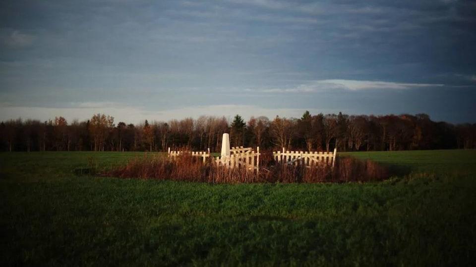 Petit cimetière au milieu d'un champ.