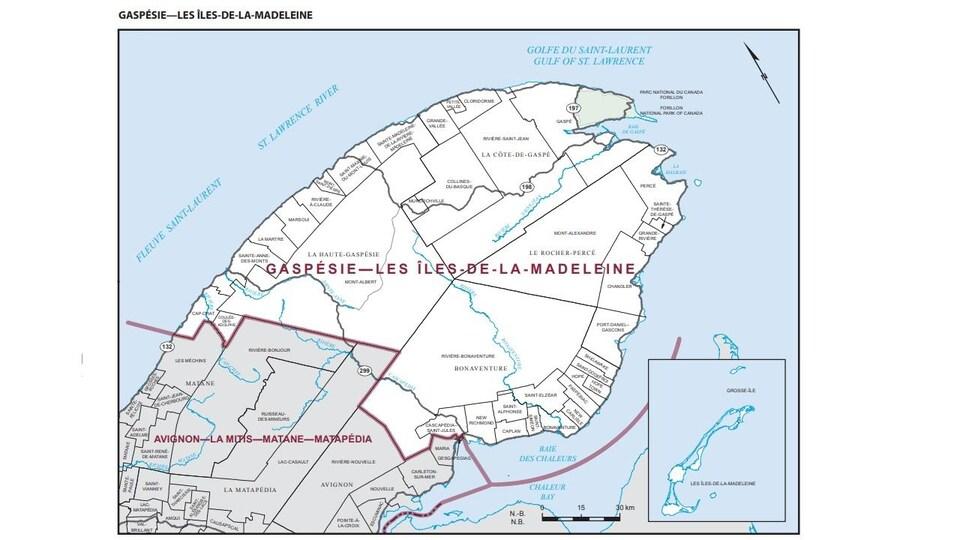 Carte de la circonscription Gaspésie-Îles-de-la-Madeleine.