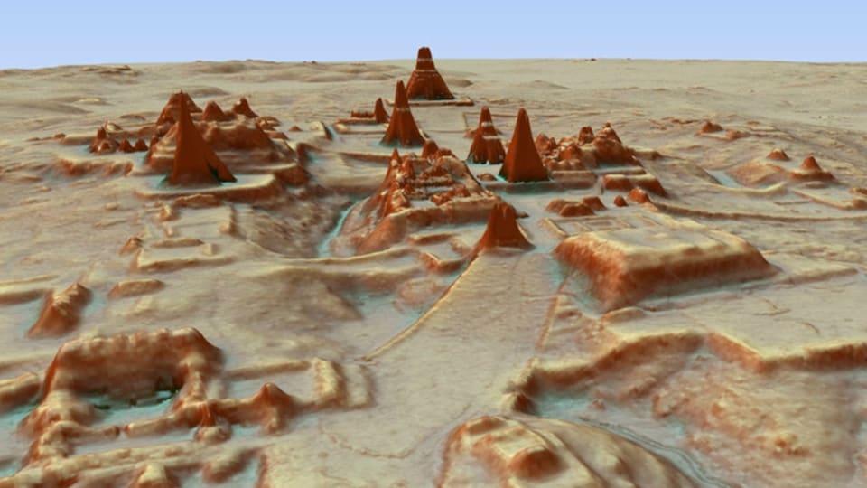 Image digitale 3D créée par la technologie LiDAR et montrant le relief du site archéologique maya à Tikal, au Guatemala.