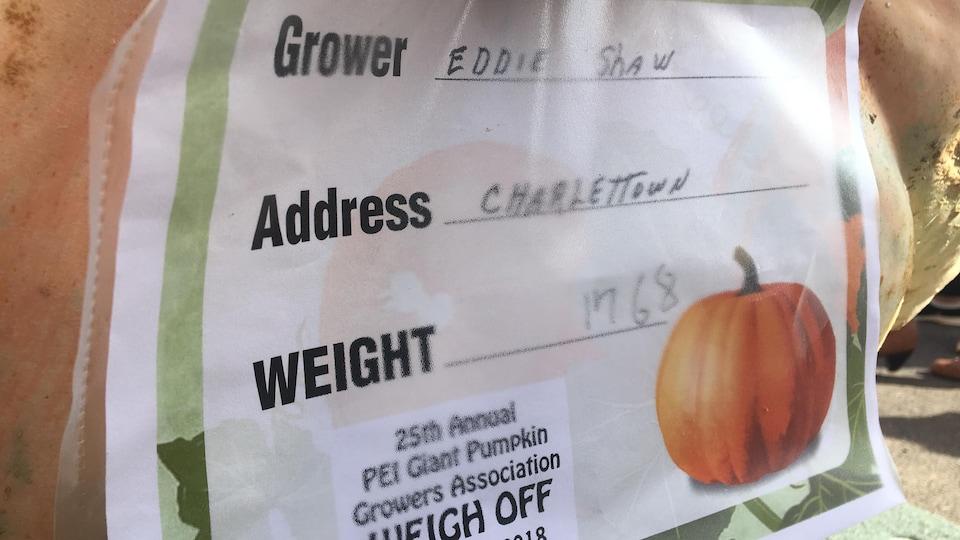 La citrouille d'Eddie Shaw pèse 802 kilogrammes, soit 1768 livres.