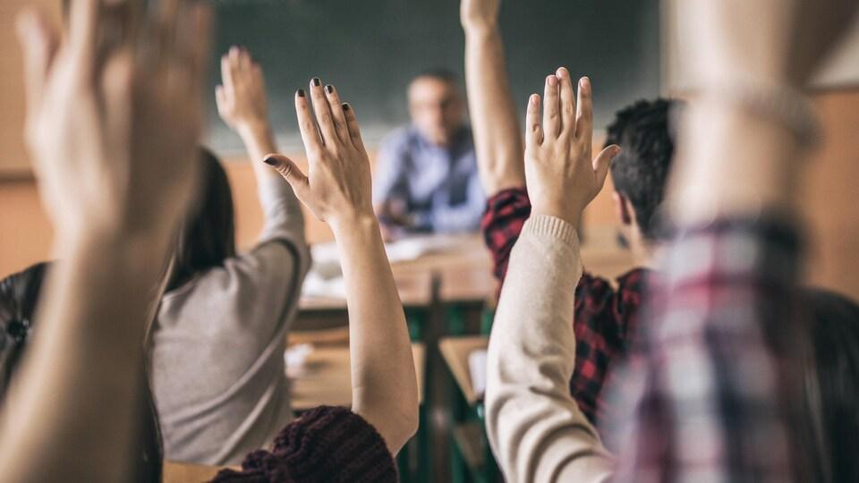Des élèves photographiés de dos dans une classe lèvent la main.