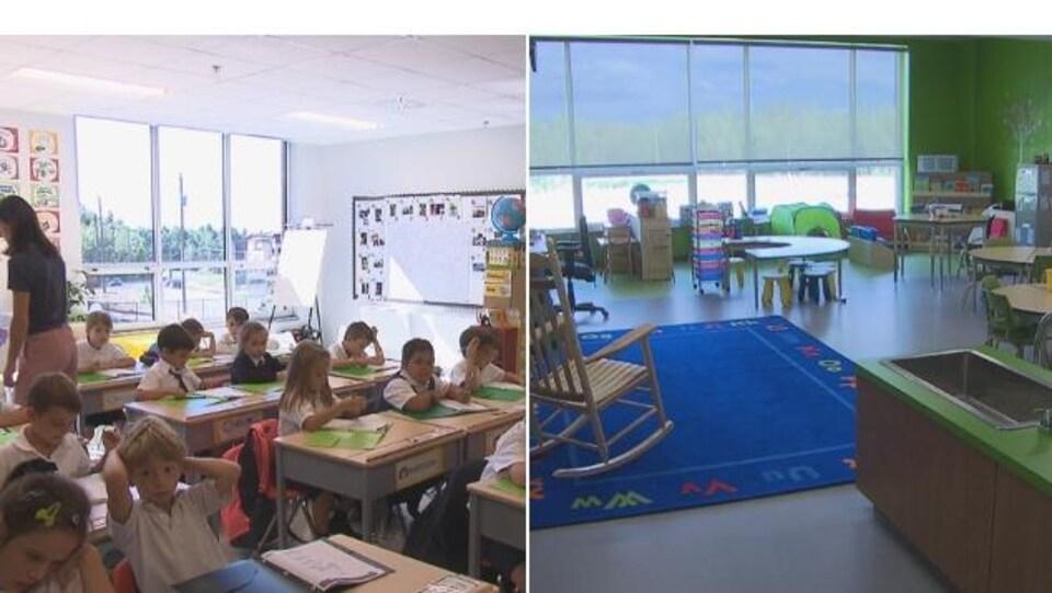 Deux salles de classe : celle de Plein Soleil est à gauche, celle de la Croisée à droite