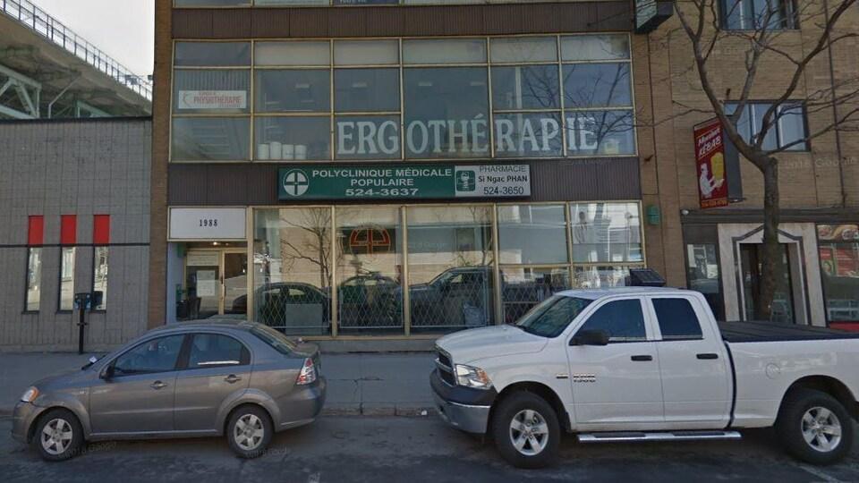 La Clinique médicale populaire a été fondée en 1967 par le Dr Benoit Deshaies, le père de l'actuelle propriétaire. Sur la photo, la devanture de la clinique.