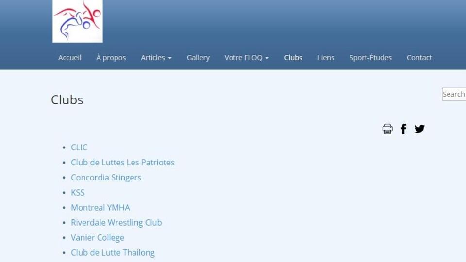 Capture d'écran du site de la Fédération de lutte olympique du Québec qui fait état de huit clubs.
