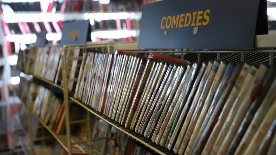 Des films rangés dans un club vidéo.