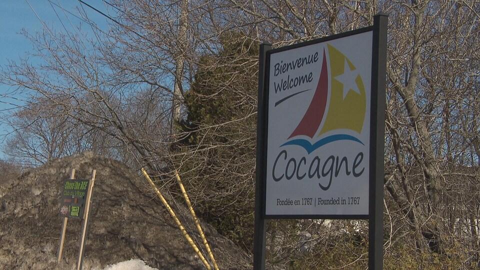 Une enseigne de la municipalité de Cocagne, dans le comté de Kent-Sud, au Nouveau-Brunswick.