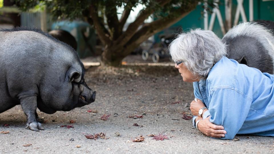La fondatrice d'un refuge pour cochons est allongée par terre face à face avec un cochon domestique.