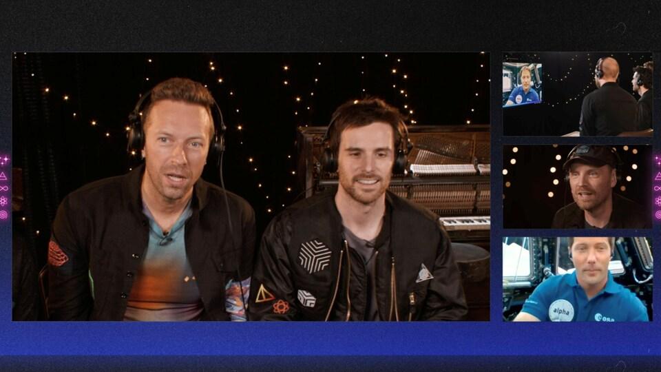 Capture d'écran de la visioconférence entre les membres du groupe et l'astronaute dans l'espace.