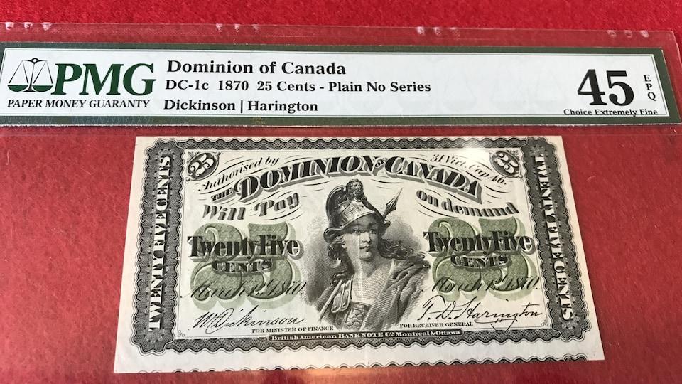 Un billet de 25 cents unilingue, daté de 1870