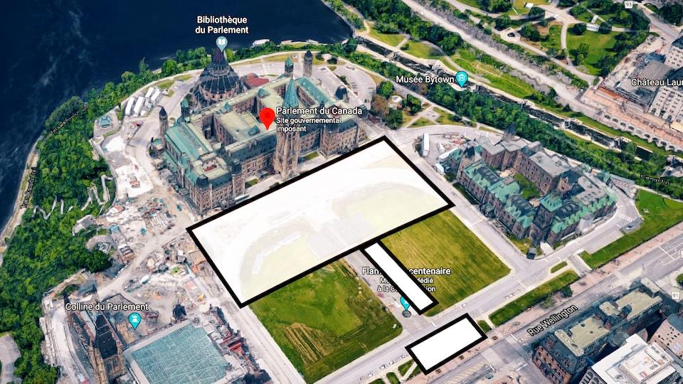 L'image aérienne montre qu'une importante partie du parterre devant l'édifice du Centre du Parlement est touchée par des travaux.