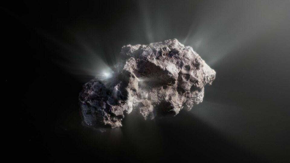 Représentation artistique de la comète 2I/Borisov.