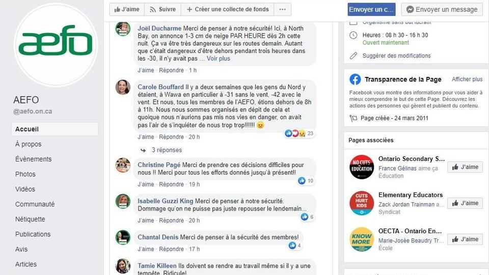 Des bulles de commentaires écrits sur la page Facebook de l'AEFO.