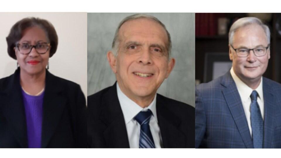 Les commissaires Angela Coke, Frank N. Marrocco et Jack Kitts.