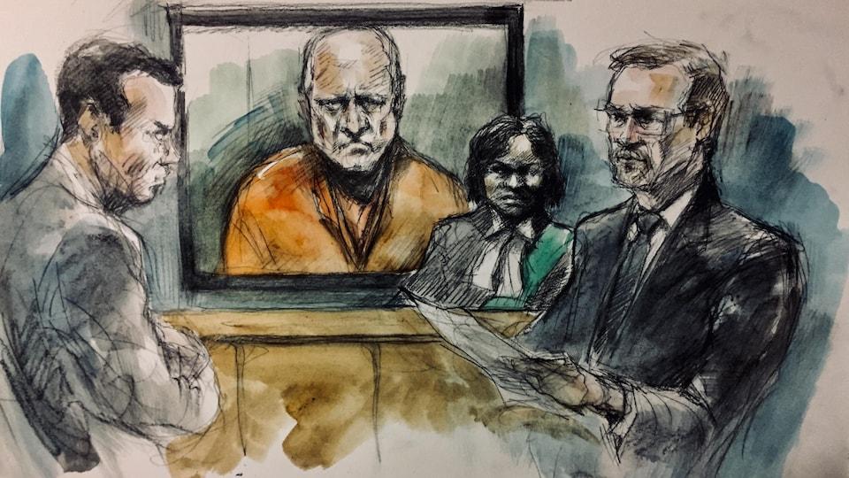Image d'un homme dans un écran en tenue de prisonnier orange entouré de trois personnes.