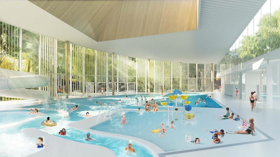 Une maquette de la piscine.
