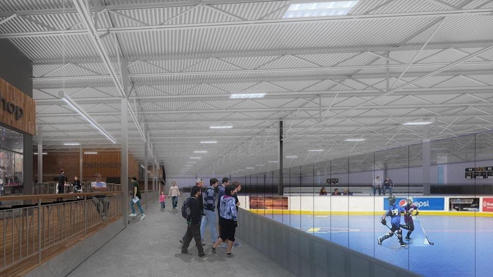 Modélisation de joueurs regardant près de la bande un match de hockey-balle.