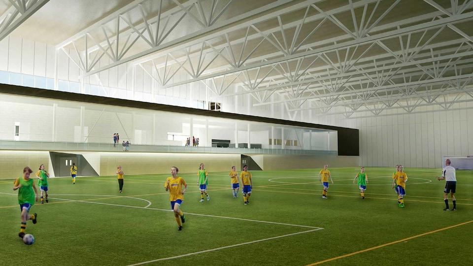 Un dessin de terrain de soccer intérieur