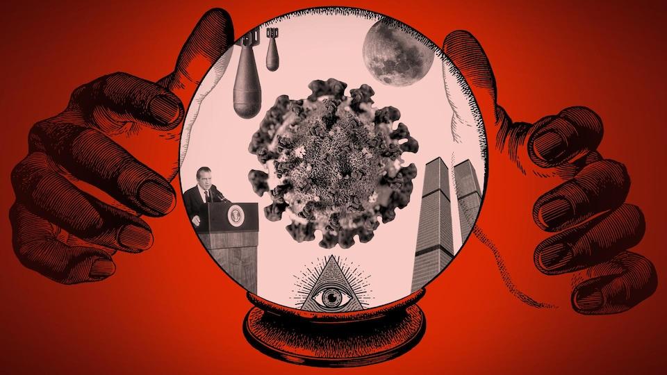 Deux mains autour d'une boule de cristal dans laquelle se trouvent un coronavirus, Richard Nixon, des missiles, une pyramide avec un oeil, une Lune et les tours du World Trade Center.