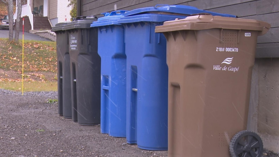 Sur le bord d'un mur, on peut voir alignés bac brun, bac bleu et bac noir pour les ordures.